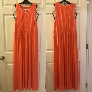 Neiman Marcus Coral Modal Long Dress Gown Soft